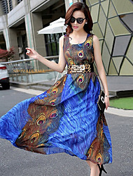 signe ceinture de plume de paon mis sur une grande impression irrégulière longue section robe en mousseline de soie avec ceinture