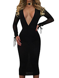 cheap -Women's Bodycon Dress - Solid Colored, Mesh Deep V