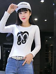 vrai coup au printemps 2017 verges femmes coréennes mince col rond blanc pailleté manches longues t-shirt femme compatissante