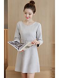 Sign 2017 spring new Korean fashion temperament Slim thin suede dress female genuine quality