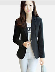 cheap -Women's Work Basic Plus Size Blazer - Solid Color, Pure Color Basic