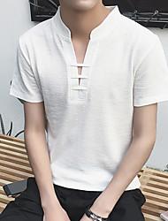baratos -Homens Camiseta Estilo vintage, Côr Sólida Colarinho Chinês