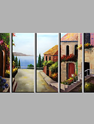 cheap -Hand-Painted European Style Landscape Five Panels Canvas Oil Painting For Home Decoration