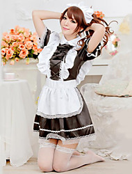 cheap -Cute Girl Black and White Ruffles Apron Maid Uniform Cosplay Costumes Party Costume Maid Costumes Career Costumes Festival/Holiday Halloween Costumes