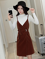 assinar arnês terno vestido versão coreana da camisa de malha correia v-pescoço de mangas compridas novo ouro de veludo vestido de duas