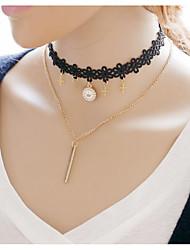 Жен. Девочки´ Ожерелья-бархатки Ожерелья с подвесками Слоистые ожерелья Бижутерия Сплав В форме трубки Крестообразной формы Крест Золотой