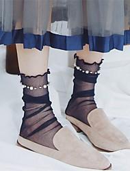 cheap -Women Fashion Chic Sheer Pearl Pleated Thin Socks,Acrylic,Solid