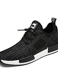 Da uomo-Sneakers-Tempo libero Casual Sportivo-Comoda-Piatto-Tulle-Nero Grigio