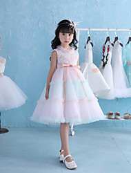 A-Line Knee Length Flower Girl Dress - Lace Tulle Satin Chiffon Sleeveless Jewel Neck with Ruffles