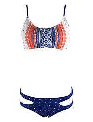 preiswerte -Damen Druck Riemchen Bikinis Bademode Push-Up Polyester,Orange