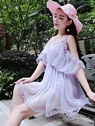 2017 été nouvelle version coréenne du grand tempérament beauté sexy crêpe robe en dentelle mousseline de soie