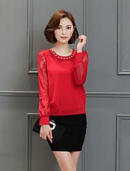 Знак 2017 весной новых корейских женщин вокруг шеи с длинными рукавами шифона рубашки тонкий рубашки малых диких