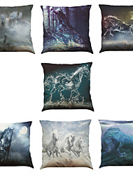 Set of 7 Hand-Painted Horse Pattern Linen  Cushion Cover Home Office Sofa Square  Pillow Case Decorative Cushion Covers Pillowcases