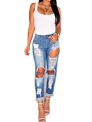 cheap -Women's Slim Jeans Pants - Solid, Ripped High Rise