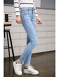 Spring and autumn new Korean tidal hole pantyhose personality trousers elastic waist jeans pants feet Slim was thin