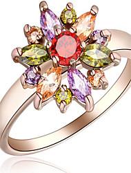 abordables -Femme Bague - Or rose, Zircon, Alliage Fleur 6 / 7 / 8 Blanc / Rouge Rose Pour Soirée / Occasion spéciale / Quotidien