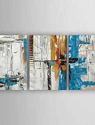 cheap -Hand-Painted  Abstract Set of 3 Canvas Oil Painting With Stretcher For Home Decoration Ready to Hang