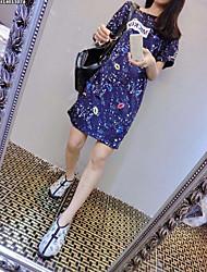 Version coréenne du nouvel afflux d'été féminin longue section de manches longues manches courtes t-shirt robe