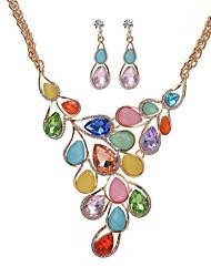 Ensemble de bijoux Imitation Opal Acrylique Alliage Original Forme de Feuille Noir Orange Arc-en-ciel Bleu Rose SetMariage Quotidien