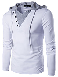 cheap -Men's Active / Street chic Cotton Slim T-shirt - Solid Colored Patchwork Hooded / Long Sleeve