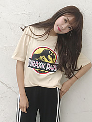 Real shot summer new Korean students Harajuku College Wind Slim letters printed short-sleeved T-shirt female dinosaur