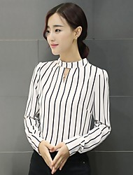 Women's Formal Casual/Daily Work Simple Blouse,Striped Stand Long Sleeve Polyester
