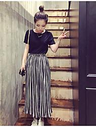 2017 schwarze und weiße vertikale Streifen Taille koreanische Version war dünne Chiffon breite Bein Hose weibliche Strumpfhose