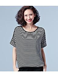 registrar-splicing de fios 2017 modelos primavera net listrado t-shirt de mangas curtas casuais mm de gordura grandes estaleiros t-shirt