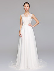 cheap -A-Line V-neck Court Train Chiffon Lace Wedding Dress with Appliques by LAN TING BRIDE®