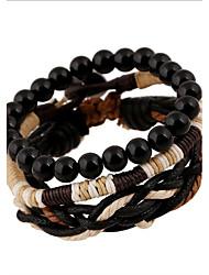 cheap -Men's Women's Leather Wrap Bracelet - Vintage Punk Round Black Bracelet For Party