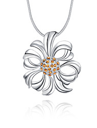 cheap -Women's Flower Floral Luxury Unique Design Logo Style Flower Style Dangling Style Flowers Pendant Necklace Crystal Sterling Silver