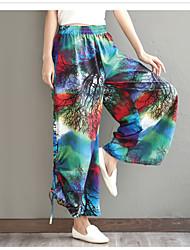 Sign Art 2017 spring and summer linen wide leg pants national wind loose elastic waist cotton pants