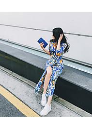 Linea A Vestito Da donna-Da sera Evento Compleanno Appuntamento Sensuale Floreale A V Medio Mezza manica Non disponibile EstateA vita