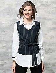 preiswerte -Damen Druck Chinoiserie Lässig/Alltäglich Arbeit Hemd,Hemdkragen Frühling Sommer Langarm Baumwolle Dünn