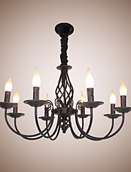cheap -European Simple Iron Living Room Dining Room Lamp Candle Lamp 8 Bedroom Study Game Hall Chandelier