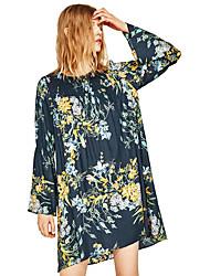 grandes za sétimo mangas trompete europeus e americanos soltos redondas mulheres vestido de pescoço floral impressão nova primavera