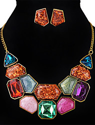 Women's Jewelry Set Multi-stone Crystal Square Fashion Euramerican Wedding Party Special Occasion Synthetic Gemstones Crystal Alloy
