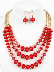 Mulheres Conjunto de Jóias Euramerican bijuterias Vidro Jóias 1 Colar 1 Par de Brincos Para Casamento Festa Ocasião Especial Aniversário