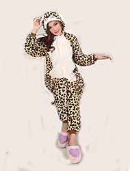 Kigurumi Pajamas Leopard Leotard/Onesie Festival/Holiday Animal Sleepwear Halloween Animal Print Flannel Kigurumi For Male Halloween