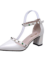 Women's Heels Comfort PU Spring Summer Office & Career Dress Party & Evening Comfort Rivet Buckle Chunky Heel Beige Light Grey 2in-2 3/4in