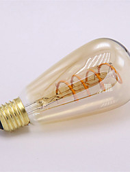 3W E26/E27 LED Filament Bulbs ST64 1 leds COB Dimmable Decorative Warm White 300-350lm 2300K AC 220-240V