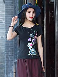 abordables -Mujer Camiseta Estampado Floral Poliéster