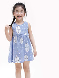 cheap -Girl's Daily Print Dress,Cotton Linen Summer Sleeveless Floral Blue