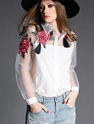 cheap -Women's Butterfly Sleeve Shirt - Floral Mesh Shirt Collar