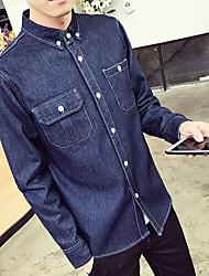 -p47- весной новый сплошной цвет джинсовой рубашки мужчина с длинными рукавами рубашки больше, чем кофе