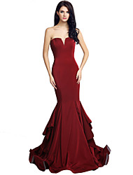 cheap -Mermaid / Trumpet Sweetheart Court Train Jersey Formal Evening Dress with Cascading Ruffles by Sarahbridal