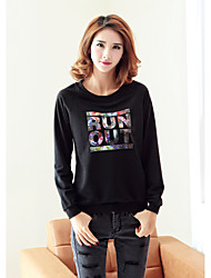 Women's Plus Size Casual/Daily Active Sweatshirt Letter Oversized Round Neck Removable Hood Micro-elastic Cotton Long Sleeve