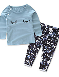 cheap -Girls' Daily Floral Print Clothing Set,Cotton All Seasons Long Sleeve Floral Royal Blue
