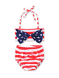 cheap -Girls' Stripes Bow Striped Geometric Print Swimwear, Cotton Red