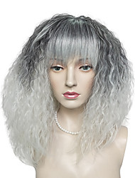 cheap -Kinky Curly Wig Synthetic Fiber Neat Bangs Black Mix White Color Wig Hairstyle